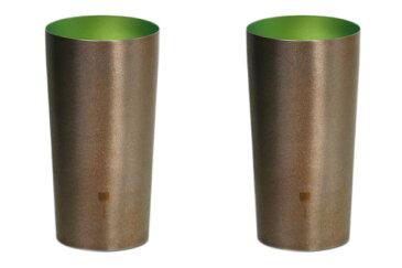 【送料無料】[名入れ・文字入れ・刻印無料キャンペーン中♪]然 二重 ブラウン 緑 グリーン シルバー ペア 350ml 純チタンタンブラー 敬老の日にオススメ純チタンコップ 泡立ちにこだわった純チタンカップを夏のビールのお供に