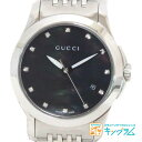 グッチ GUCCI Gタイムレス YA126505 ブラックシェル 12Pダイヤ アウトレット クオーツ レディース 腕時計 ec【中古】
