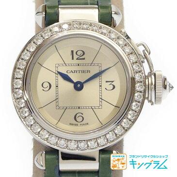 カルティエ Cartier ミスパシャ WJ124027 ベゼルダイヤ K18WG レディース腕時計 尾錠純正 my 【中古】