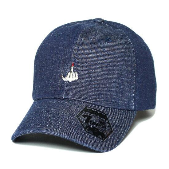 7UNION 7ユニオン F××K Sign Bent Brim Cap ボールキャップ ベントブリムキャップ 帽子 インディゴデニム 7UB-727