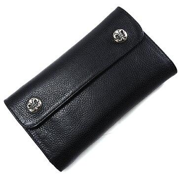 CHROME HEARTS(クロムハーツ) ウェーブ・フレアボタン・ブラック・ヘビーレザー Wave Wallet Black Heavy Leather w/BS Fleur Buttons