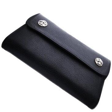 CHROME HEARTS(クロムハーツ) ウェーブ・クロスボタン・ブラック・ヘビーレザー Wave Wallet Black Heavy Leather w/Cross Buttons