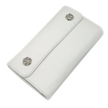 CHROME HEARTS(クロムハーツ)ウェーブ・フレアボタン・ホワイトウォレット Wave Wallet White Leather w/BS Fleur Buttons