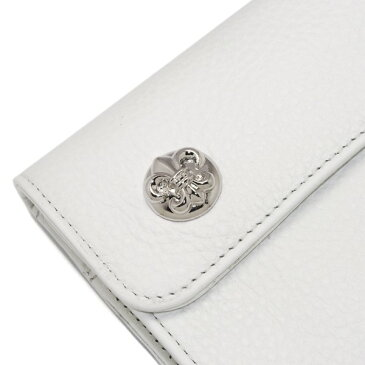 CHROME HEARTS(クロムハーツ)ウェーブ・フレアボタン・ホワイトウォレット Wave Wallet White Leather w/BS Fleur Buttons