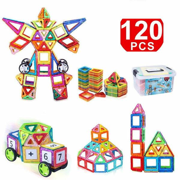 iKingマグネットブロックおもちゃ車輪付き磁石立体互換品パズル知育玩具幾何学認知早期開発カラフル磁性構築玩具積み木カラフル女の