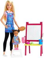 バービーおえかき教室の先生ドール&プレイセット(BarbieArtTeacherPlaysetwithBlondeDoll,ToddlerDoll,ToyArtPieces/GJM29/MATTEL社/人形,ハウス)