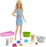 バービーペットのお世話ドール&プレイセット(BarbieNewbornPupsDollandPets/FXH11/MATTEL社/バービー人形,ハウス,ペット,犬,猫,うさぎ)
