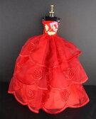バービー 着せ替え用ドレス/服 R9 (Red Ball Gown with Flower Accent on the Botice Made to Fit the Barbie Doll)