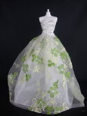 バービー 着せ替え用ドレス/服 G3 (White Strapless Ball Gown with Little Green Flowers Made to Fit Barbie Doll )