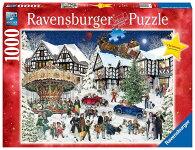 """ジグソーパズル1000ピース「雪降る村のクリスマス」(RavensburgerErwachsenenpuzzle15359""""VerschneitesWeihnachtsdorfPuzzle/サンタクロース/クリスマスツリー)"""