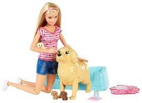 バービー生まれたての子犬とお母さん犬ドール&プレイセット(BarbieNewbornPupsDollandPets/FDD43/MATTEL社/バービー人形,ハウス,ペット,いぬ)