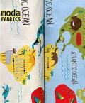 【ポイント10倍】生地 モダUSAファブリック Abi Hall 《世界地図と動物たち》【50cm単位販売】【メール便は3mまで可】【アビーホール/モダ/moda fabrics/布/布地/USAコットン/動物柄/マップ】(MA23)