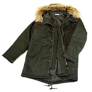 モッズコート メンズ ロング 中綿 秋 冬 春 ファー取り外し可能 フード付き ウエスト&裾ドローコード カーキ ブラック