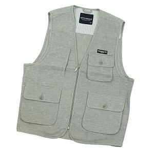 メンズ 綿麻 ベスト お試し用 コットン&リネン 【有料ラッピング対応】 フィッシングベスト トラベルベスト 多機能ポケット付き リラックスウエアー 麻混 素材 が シャリ感 が有り 快適 です。
