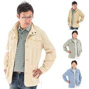 メンズ綿混サファリジャケット多機能ポケット付きスタンド衿ハーフコート父の日ギフトや誕生日プレゼントとしても最適トラベルジャケット