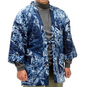 紳士半纏(はんてん)ケミカルプリント、デニム風であったかーい中綿入り、男性用半纏冬でもポカポカ着回しが簡単で暖房費節約でエコな一枚・送料無料