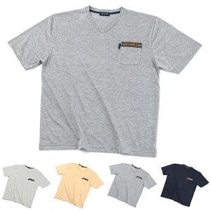 大きいサイズ 半袖 ブランド Tシャツ Vネック メール便 送料無料 カジュアルシャツ 抗菌 防臭 加工 ヘンリネックシャツ 柔らかい ベーシック オシャレ メンズシャツ メンズ