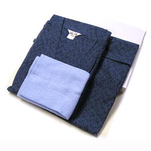 ■綿しじら絣調,無地甚平父の日ラッピング・ギフトボックス入同色同素材巾着袋入り&タオル付き★M〜LLサイズ 紺<4001>メンズ