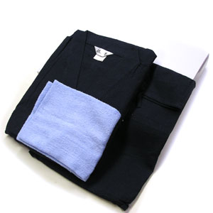 ■綿しじら,無地甚平父の日ラッピング・ギフトボックス入同色同素材巾着袋入り&タオル付き★M〜LLサイズ 濃紺<4005>メンズ