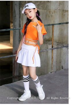 オレンジ ダンス Tシャツ フリーツスカート キッズダンス衣装 セットアップ チアダンス衣装 ヒップホップ チアリーダー 衣装 ジャズダンス 衣装 HIPHOP スカート 応援団 体操服 ステージ衣装 可愛い セットアップ ユニフォーム チアリーディング 練習着