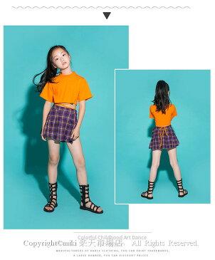 チェック柄 スカート キッズセットアップ チアダンス衣装 ヒップホップ セットアップ チアリーダー 衣装 ジャズダンス 衣装 HIPHOP スカート 体操服 ステージ衣装 可愛い かわいい ユニフォーム チアリーディング 練習着 ダンス Tシャツ オレンジ