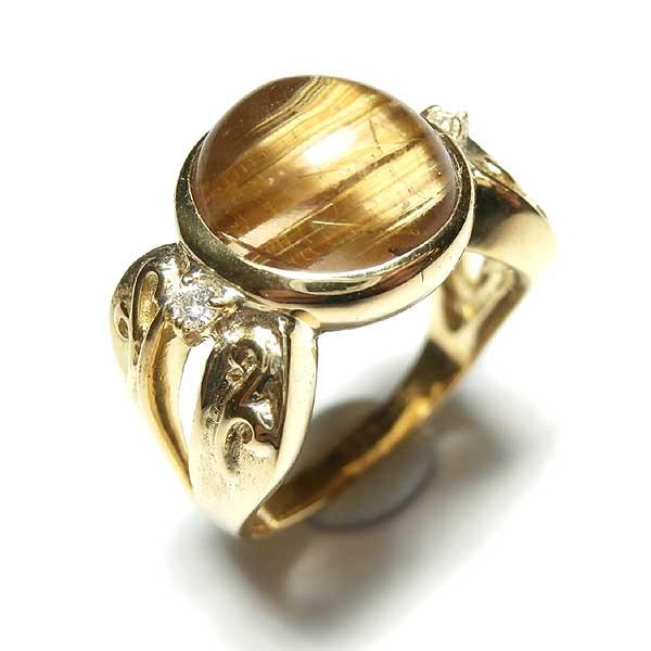K18ルチレイテッド・クォーツ:7.77ctダイヤモンド:0.06ct9.4g 13号:近未来石屋