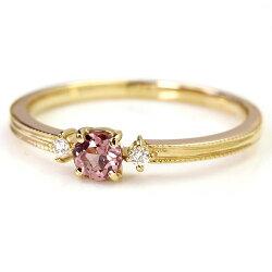 【送料無料】xxxBizouxタンザニア産「桜色」シャンパンガーネット×ダイヤモンド×K18カラーゴールドリング・リュシル