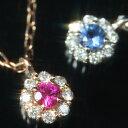 ルビー サファイア エメラルド 12種類の誕生石が選べる ダイヤモンド/バースストーン カラーゴールドネックレス レディース ペンダント・エスペランサ 誕生日プレゼント 女性 華奢 シンプル 花 フラワーモチーフ 10K K10 10 ブランド 宝石