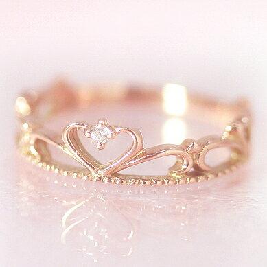 10金ダイヤモンドピンクゴールドリング指輪・プリエールピンキーリング対応プリンセスのティアラ王冠クラウン姫ハートかわいい小指の指輪人気レディース10KK10誕生日プレゼント女性ファランジリング