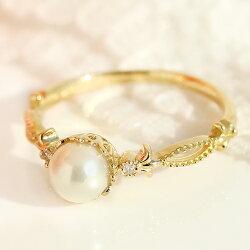 あこやパールダイヤモンドダイアモンド指輪リング・プリュールK1818K18金おしゃれ大粒エレガントクラシカル綺麗大人上品誕生日プレゼント6月誕生石