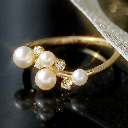 あこや真珠とダイヤモンドの指輪