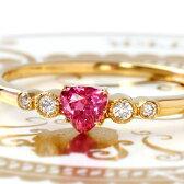 18K タンザニア産非加熱ネオンピンクサファイア ダイヤモンド イエローゴールド ピンクゴールド ホワイトゴールドリング 指輪・フランシーネ 9月誕生石 華奢 シンプル デザイン 女性 レディース K18 18金 ファッションリング ブランド Bizoux ビズー 送料無料