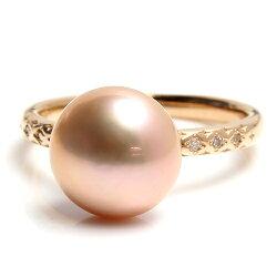 【送料無料】湖水パール×ダイヤモンドK18指輪・グラン天然メタリックパープルの真珠xxxBizoux