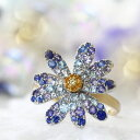 パヴェリング 指輪 レディース マルチカラージュエル 18K K18 18金 ホワイトゴールド イエローゴールド・フルールアズール カラフル ファッションリング カラーストーン 青色グラデーション 宝石 花 フラワーモチーフ ブランド BIZOUX ビズー 送料無料