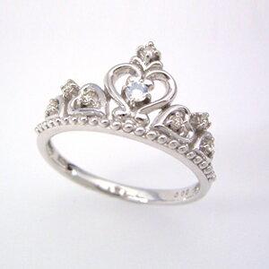 ダイヤモンド ブルームーンストーン リング レディース 指輪・プリンセティス 10K K10 10金 ホワイトゴールド 誕生日プレゼント 女性 ファッションリング 可愛い ゆびわ ジュエリー 6月誕生石 デザイン クラウン ティアラ 王冠 ゴージャス