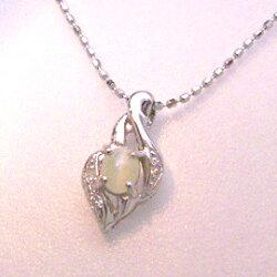 キャッツアイ×ダイヤモンド×K18ホワイトゴールドネックレス