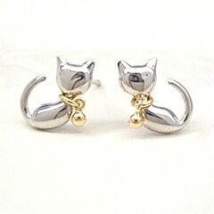 K18ゴールド×K14ホワイトゴールドピアス/ねこ/ネコ/猫K18ゴールド×K14ホワイトゴールドピアス...