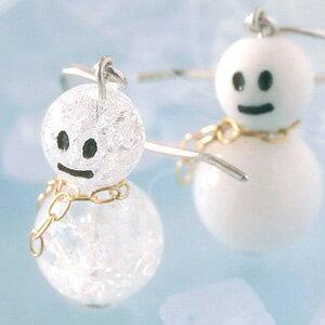 【あす楽対応】雪だるま K10 ホワイトゴールド フックピアス・スノーマン 冬 …
