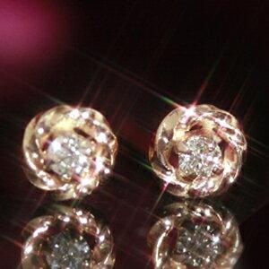 ダイヤモンド ピンクゴールドピアス・リシュア レディース プチピアス スタッドピアス おすすめ オフィス シンプル レビュー プレゼント ジュエリー