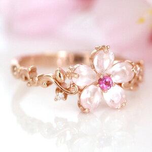 レディース ダイヤモンド ピンクトルマリン ゴールド おしゃれ フラワー モチーフ ロマンチック アクセサリー プレゼント ファッション