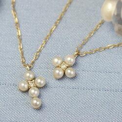 ネックレスレディースジュエリーあこや真珠本真珠パールダイヤモンド・パルレールK1010K10金フラワーモチーフ華奢可愛い高級上品エレガント結婚式入学式誕生日プレゼント女性