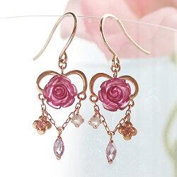 薔薇バラピアスレディースジュエリーローズクリスタルローズクオーツ・ロミリンK1010K10金ピンクゴールドフックピアス花揺れるぶらさがり可愛いピアス誕生日プレゼント女性