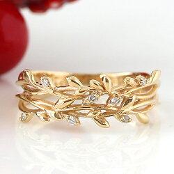 18金宿り木リング指輪レディースジュエリー・イレーネ18KK18ゴールドピンクゴールドホワイトゴールドヤドリギダイヤモンドおしゃれ誕生日プレゼント女性彼女ギフトボタニカルジュエリー植物宿木宿り木デザインファッションリング