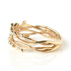 宿り木リング指輪レディースジュエリー・イレーネK1010K10金ゴールドピンクゴールドホワイトゴールドヤドリギダイヤモンドおしゃれ誕生日プレゼント女性クリスマスジュエリー彼女ギフト