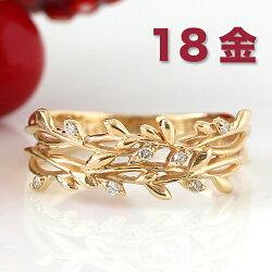 宿り木リング指輪レディースジュエリー・イレーネK1010K10金ゴールドピンクゴールドホワイトゴールドヤドリギダイヤモンドおしゃれ誕生日プレゼント女性クリスマスジュエリー彼女ギフトボタニカルジュエリーデザインファッションリング