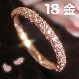 18K 桜色 リング レディース ピンクサファイア 18金 ピンクゴールド 指輪・夜桜 ピンクサファイヤ パヴェリング ゴージャス 華やか 9月の誕生石 誕生日プレゼント 女性 おしゃれ さくら ピンクグラデーション ファッションリング ジュエリー K1 ブランド