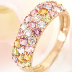 ピンクダイヤモンド、タンザナイト、ロイヤルブルームーンストーン×K10ピンクゴールド/ホワイトゴールドリング