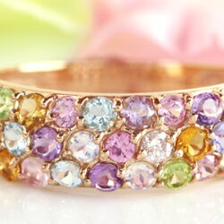 ピンクダイヤモンド、タンザナイト、ロイヤルブルームーンストーン・・11カラージュエル×K10カラーゴールドリング・ラフローラ色とりどりの花畑みたい!