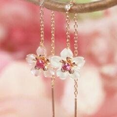 カラー蝶貝×ピンクゴールドピアス・トゥイセリゼ