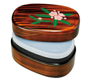 紀州漆器  お弁当箱 宝来弁当箱 杢目 しゃくなげ(タッパー付) 大人の弁当箱
